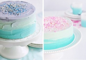 Blue pastel swirl ombre cake with sprinkles by Sweetapolita