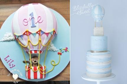 Hot-Air-Ballon-Cake-by-Jo-Ranson-of-The-Icing-on-the-Cake-UK-left and hot air balloon cake right by Blissfully Sweet Cakes Australia