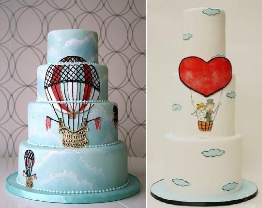 Hot Air Balloon Cakes from LuLu Cake Boutique right and via Pinterest left