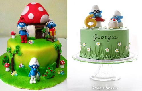 Smurfs cakes featuring Brainy Smurf  by Giada on Cakes Decor left and Bake-A-Boo right