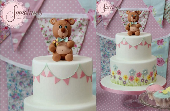 bunting birthday cake or christening cake by Sweetness Boutique Cakes & Confectionery