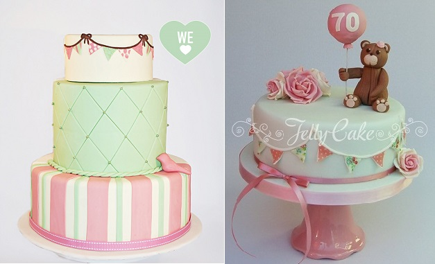 bunting cakes side design by Edible Art Cakes left and by Jelly Cake UK right