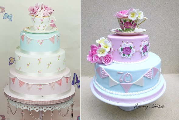 bunting cakes with teacup cake toppers from The Cute Cupcake Company left and by Gulnaz  Mitchell of Heavenly Cakes 4U right