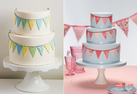 bunting wedding cakes from Superfine Bakery left and from The Cake Parlour right