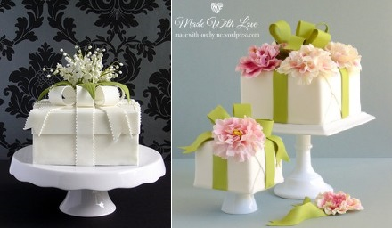 Floral gift box cakes cake geek magazine cake geek magazine this fabulous gift box cake above left with lily of the valley floral spray was designed by the very talented pamela mccaffrey of made with love cakes negle