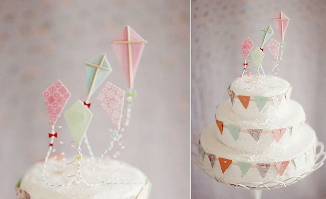 kite cake with vintage bunting flags via Art & Chic blog