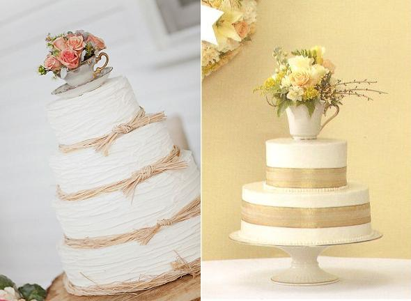 teacup cake toppers with cake from Old Vienna Bakery via Burnetts Boards left and from wedding flowers and reception ideas.com