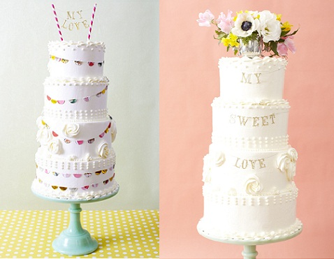 Bunting wedding cake and garland wedding cake  by 100 Layer Cake and Nine Cakes