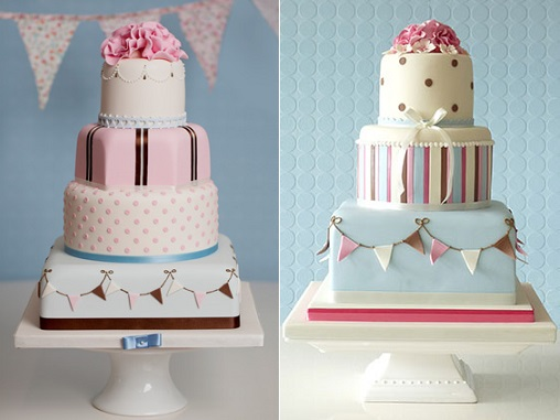 Bunting wedding cakes by Rachelle's Cakes UK