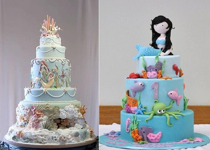 Mermaid cakes by Mercedes Strachwsky left and via Pinterest right