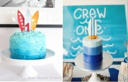 surfer cakes in buttercream frosting