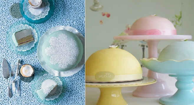 Swedish Princess cake from Martha Stewart Living left and by Miette right