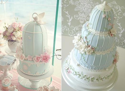 bird cage wedding cakes from Boutique Affairs(Photo by Lee Bird) left and from Rachelle's Cakes right