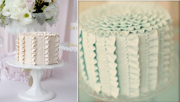 buttercream frills and buttercream ruffles cake left by Sweet Tiers and right via Tumblr