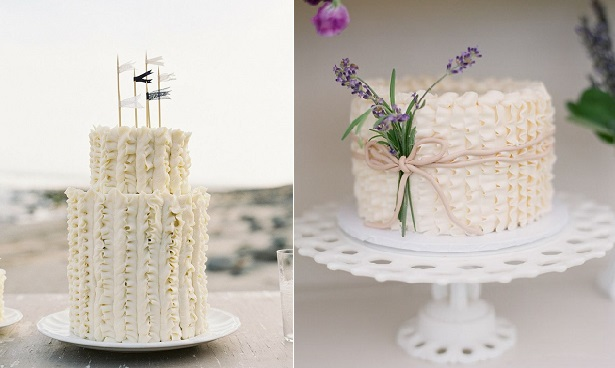 buttercream frills cakes buttercream piping images via Style Me Pretty left and via Ruffled blog left