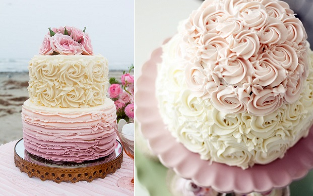 buttercream roses wedding cake by Sugar Muse Bakery via Style Me Pretty left and via Tumblr right