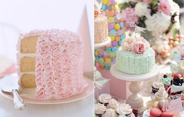 buttercream ruffles cakes via The Tom Kat Studio left and Wedding Chicks right