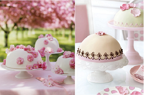 dome shaped Swedish Princess cakes from Martha Stewart Weddings on left and by Peggy Porschen on right.