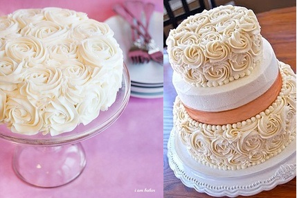 buttercream rosette cakes byi am baker.com and sistersbakingco.blogspot.com