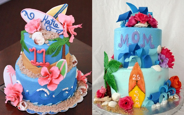 surfer cakes for girls