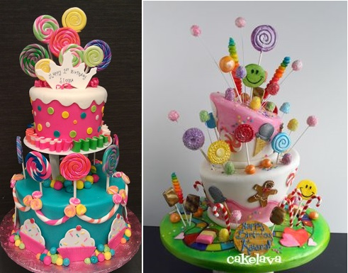 lollipop cakes with swirly pops via Pinterest left and candyland cake from Cake Lava right