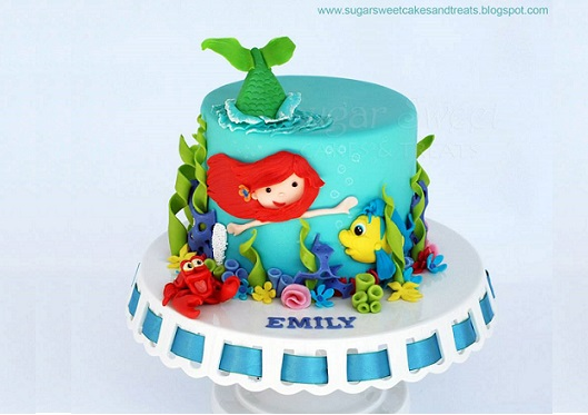 mermaid cake by Sugar Sweet Cakes and Treats (inspired by Applegum Kitchen)