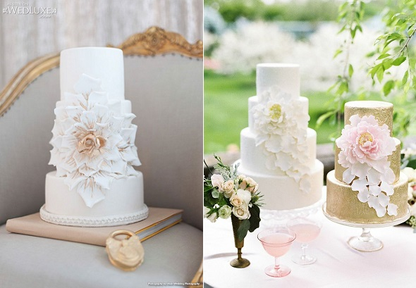 petals corsage wedding cake falling petal with cakes via WedLuxe left and by Ana Parsych Custom Cake right.jpg