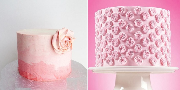 piped buttercream roses  cakes by Wilton right and via Pinterest left