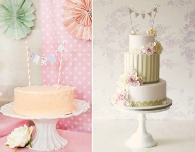 Bunting Cake Toppers from Kara's Party Ideas (left) and Rachelle's Cakes UK (right)