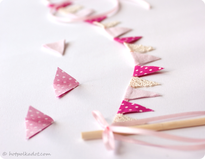 Bunting cake topper diy tutorial from HotPolkaDot.com