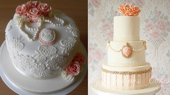 Cameo Cakes by Sugar Ruffles (left) and Nadine's Cakes (right)