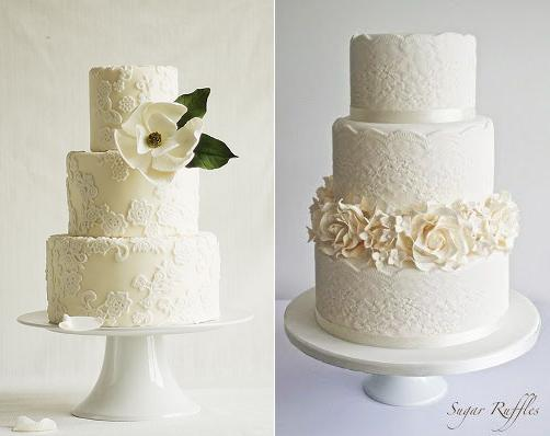 Lace wedding cakes with applique lace by Modern Lovers via Cake Central left and by Sugar Ruffles right with moulded lace banding