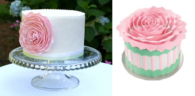 Ruffle rose cake tutorials from MyCake School.com (left) and Wilton (right)