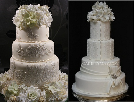 Lace wedding cakes with applique lace