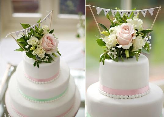 bunting cake topper wedding cake by Sam Ellis Cake via Whimsical Wonderland Weddings, Milkbottle-Photography