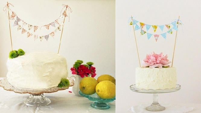 bunting cake toppers by Kiki La Rue on Etsy left and by Bluebird and Violet on Etsy right