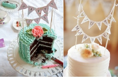 bunting cake toppers from Frosted Petticoat (left) and Style Me Pretty (right)