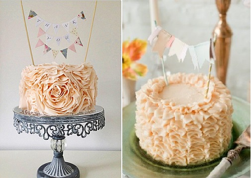 bunting cake toppers with ruffle cake by The Little Salmons Bakery UK left and with buttercream ruffles cake right from The Sweetest Occasions