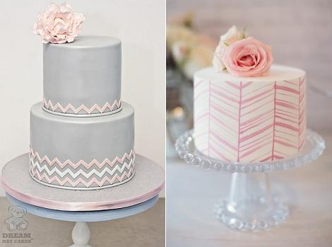 chevron cakes from Dream Day Cakes left and Maria V Creations right