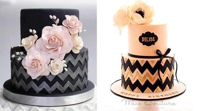 chevron cakes by Coco Paloma Desserts (left) and Miss Couture via Pinterest (right)