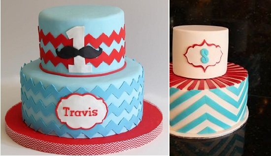 chevron cakes by Whisk Me Away (left) and Chloe Kerr Cakes (right)