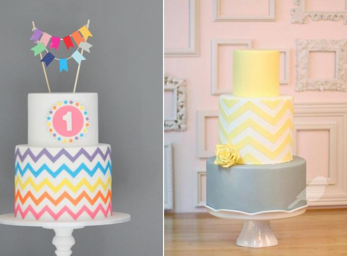 chevron cakes from Couture Cakes.com.au left and via Pinterest right