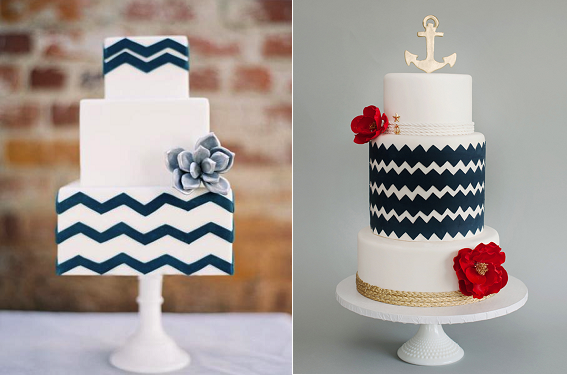 chevron cakes navy and nautical from Sweet and Saucy left and City View Bakehouse right