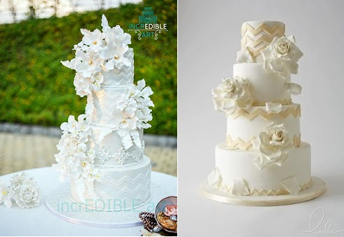 chevron wedding cakes by Incredible Art via Cakes left and by LuLu Cake Boutique right