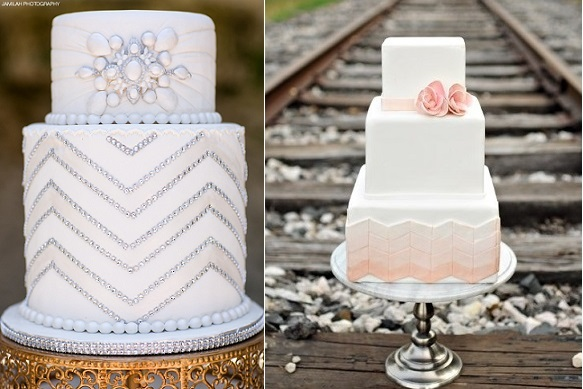 chevron wedding cakes by Paola Cake Atelier (left) and The Layered Bakeshop (right)
