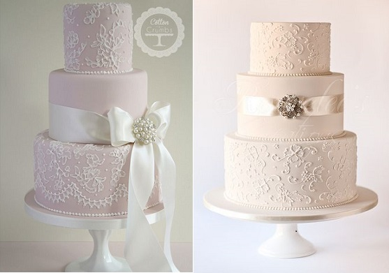 Edible lace on wedding cakes