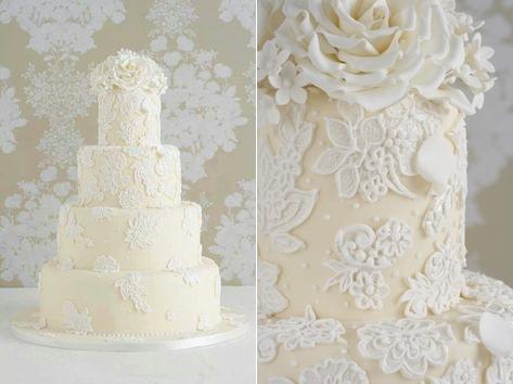 lace wedding cake applique lace overpiped by Peggy Porschen (2)