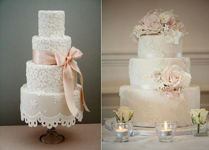 lace wedding cake with applique lace by Cotton & Crumbs left and by Elizabeth's Cake Emporium (Claire Graham Photography) right (2)