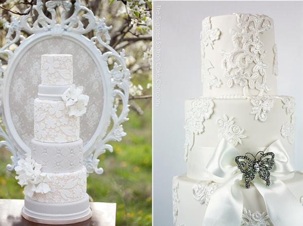 lace wedding cakes with applique lace by Sugared Saffron right and via Tumblr left