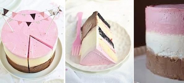 raspberry neapolitan cake by Sweetapolita